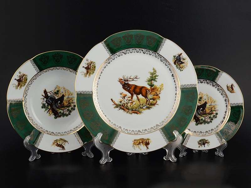 Болеро Охота Зеленая Набор тарелок Royal Porcelain 18 предметов