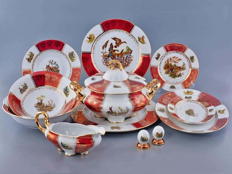Болеро Охота Красная Столовый сервиз Royal Porcelain на 6 персон 28 предметов