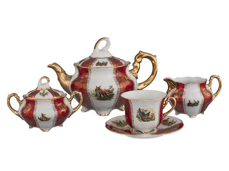 Болеро Охота Красная Чайный сервиз Royal Porcelain на 6 персон 17 предметов