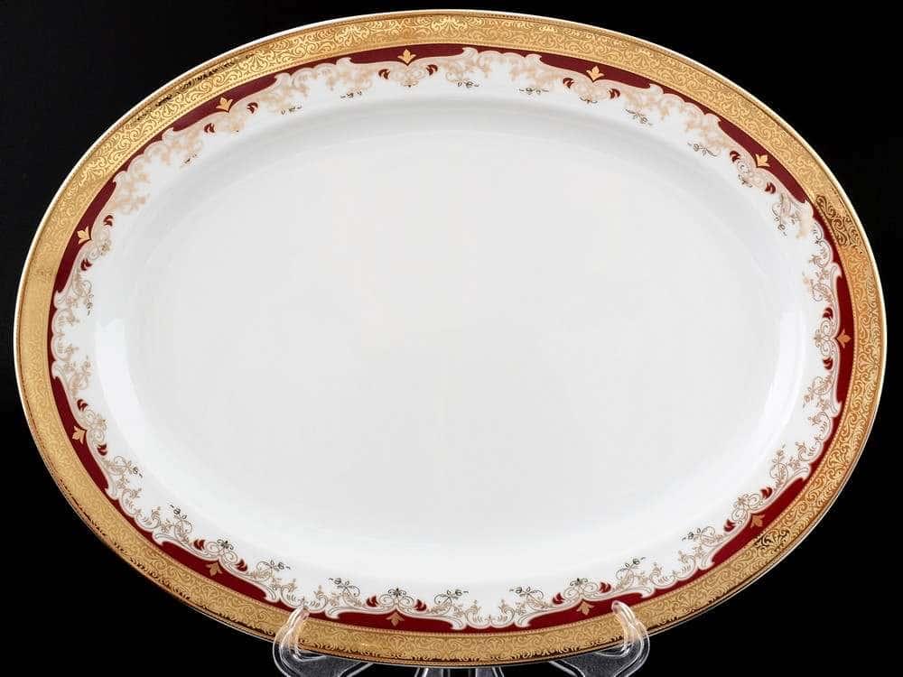 Блюдо овальное 32 см Кристина Красная Лилия
