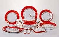 Мария - Лист красный Сервиз столовый Bavarian на 6 персон 27 предметов