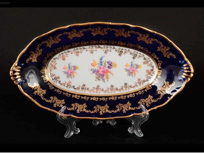 Офелия Полевой цветок Кобальт Блюдо овальное 26 см