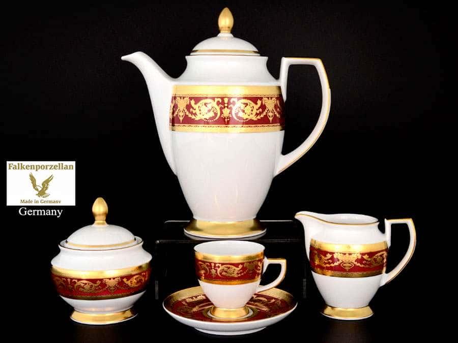 Imperial Bordeaux Gold Кофейный сервиз на 6 персон 17 предметов Falkenporzellan