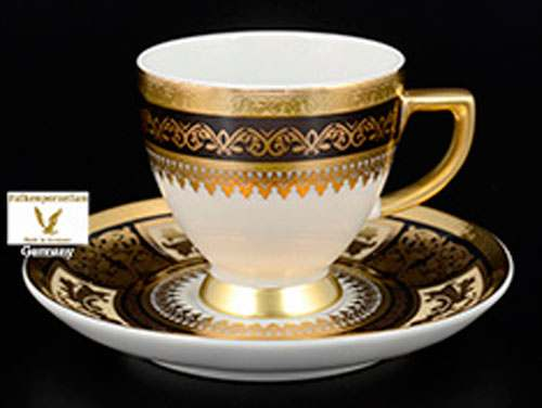 Diadem Black Creme Gold Набор кофейных пар 110 мл  Falkenporzellan