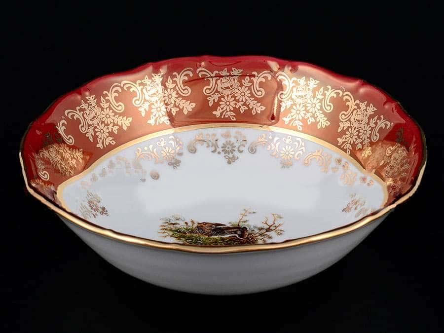 Царская Красная Охота Набор салатников Royal Czech Porcelain 16 см