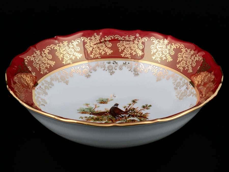 Царская Красная Охота Набор салатников Royal Czech Porcelain 19 см