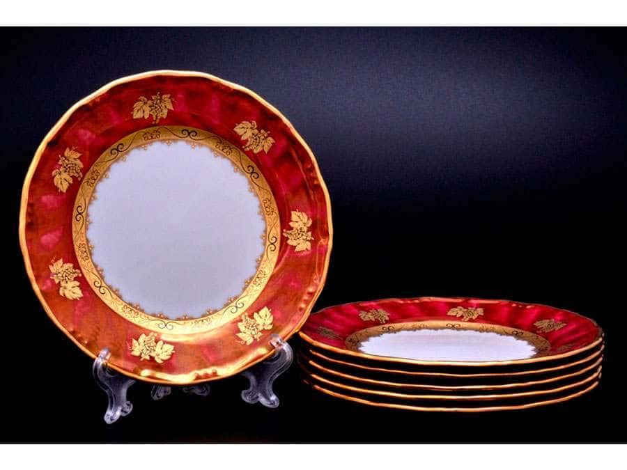 Золотой виноград красный фон Набор тарелок Эпиаг 17 см