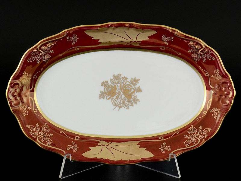 Мария Луиза Кленовый лист Красный Блюдо овальное 22 см Carlsbad
