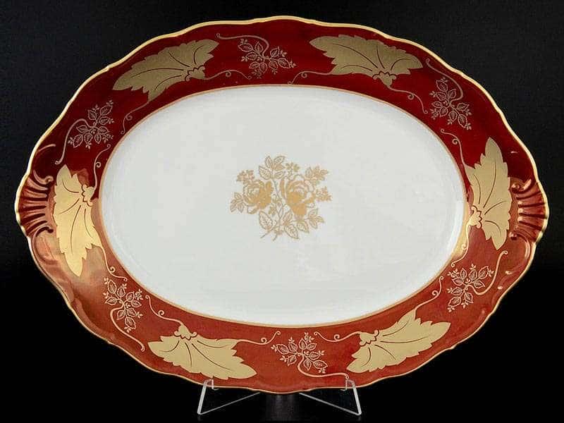 Мария Луиза Кленовый лист Красный Блюдо овальное 39 см Carlsbad