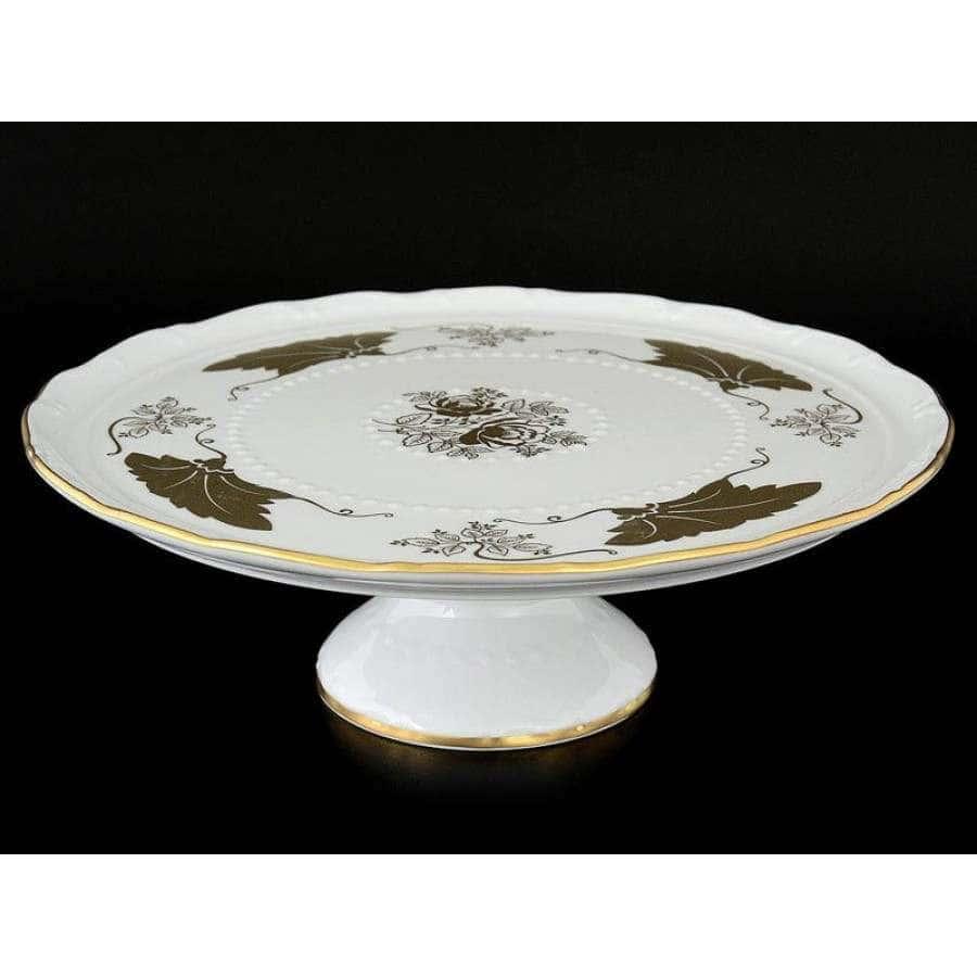 Мария Луиза Кленовый лист Белый Тарелка для торта на ножке Carlsbad 32 см