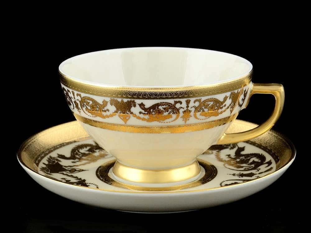 Constanza Crem Imperial Gold Набор чайных пар Falkenporzellan 250 мл