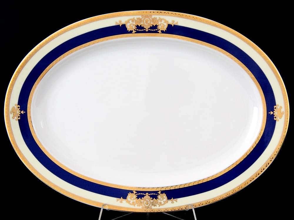 Яна Кобальтовая лента Блюдо овальное 36 см Thun