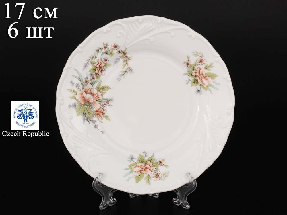 Лиана Зеленый цветок Набор тарелок MZ 17 см