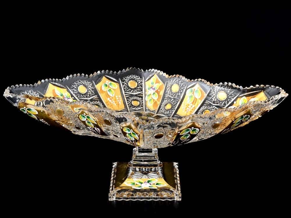 Max Crystal Золото Фруктовница 38 см на ножке Bohemia