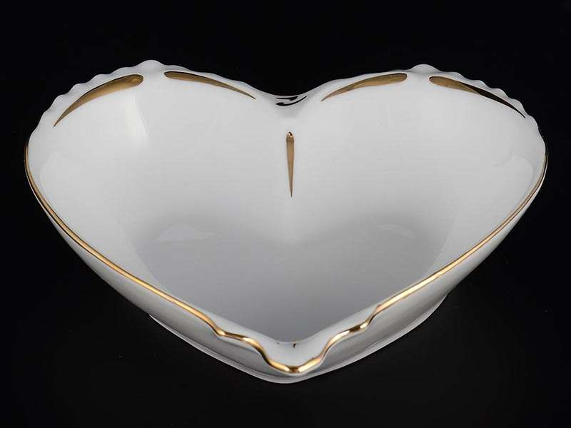 Золотая полоса Корона Конфетница сердце 15 см QC