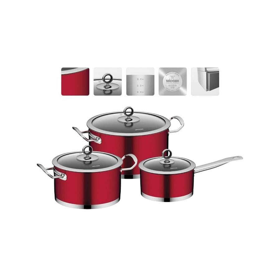 Cervena Набор посуды со стеклянными крышками 6 пр Nadoba