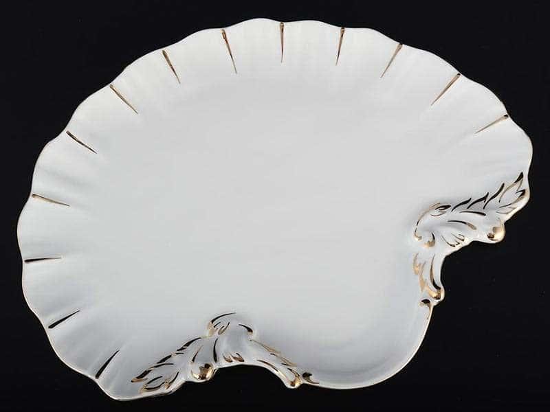 Золотая полоса Корона Блюдо ракушка 28 см