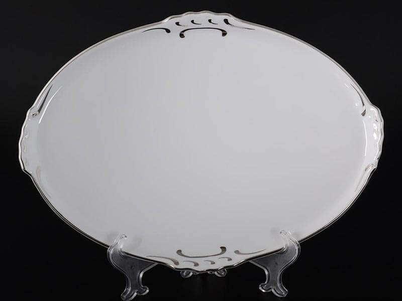 Платиновый узор Корона Блюдо овальное QC 37 см
