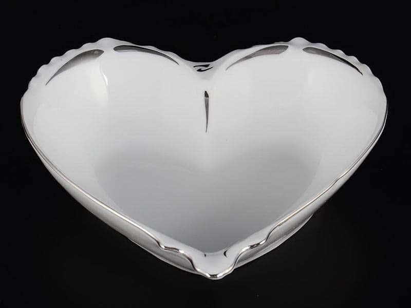 Платиновый узор Корона Конфетница сердце 15 см QC
