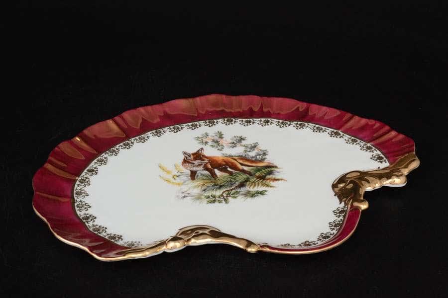 Охота красная Корона Блюдо ракушка QC 28 см