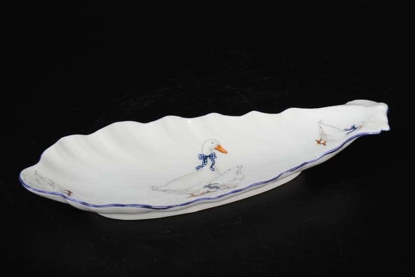 Гуси Корона Селедочница QC 20 см из фарфора