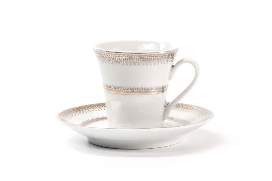 Набор чайных пар 12 предмета PRINCIER PLATINE 1801 Тунис