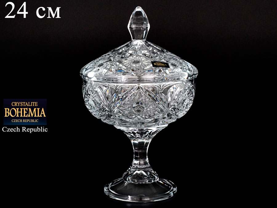 MIRANDA Конфетница с крышкой Crystalite Bohemia 24 см 27927