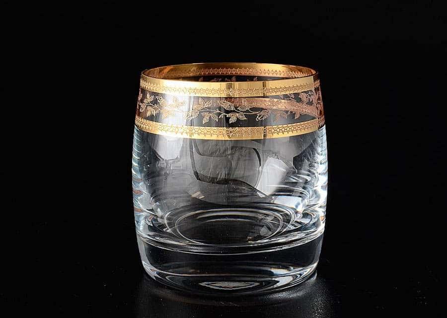 Идеал Золотой лист V-D  Набор стаканов для виски 230 мл