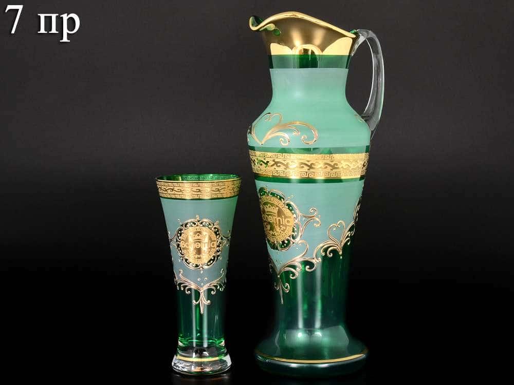 Версаче Богемия B-G иксовка зеленая Набор для воды 7 предметов