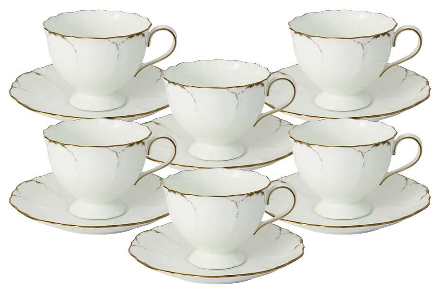 Набор: 6 чашек + 6 блюдец Белый с золотом Narumi  Индонезия