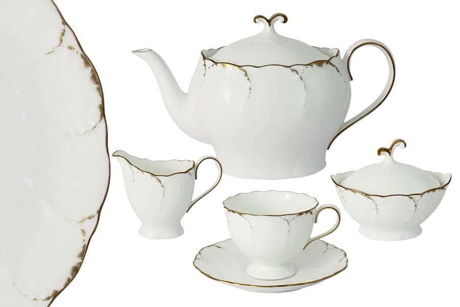 Чайный сервиз из 17 предметов на 6 персон Белый с золотом  Narumi Индонезия