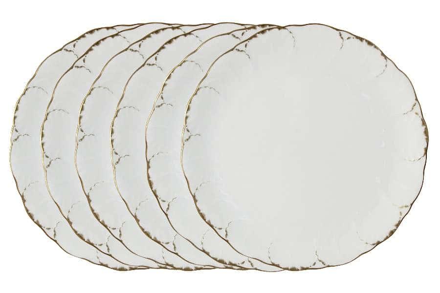 Набор из 6 обеденных тарелок Белый с золотом Narumi Индонезия