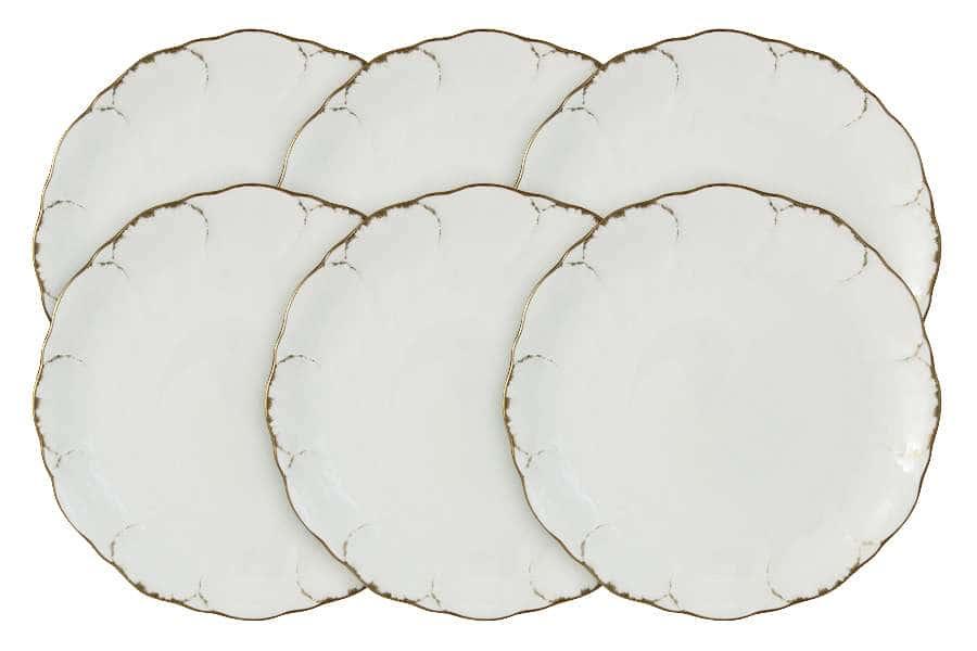 Набор из 6 закусочных тарелок Белый с золотом Narumi Индонезия