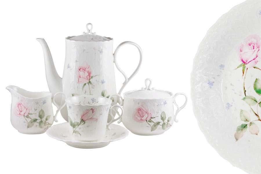 Чайный сервиз 17 предметов на 6 пресон Апрельская роза  Narumi Индонезия