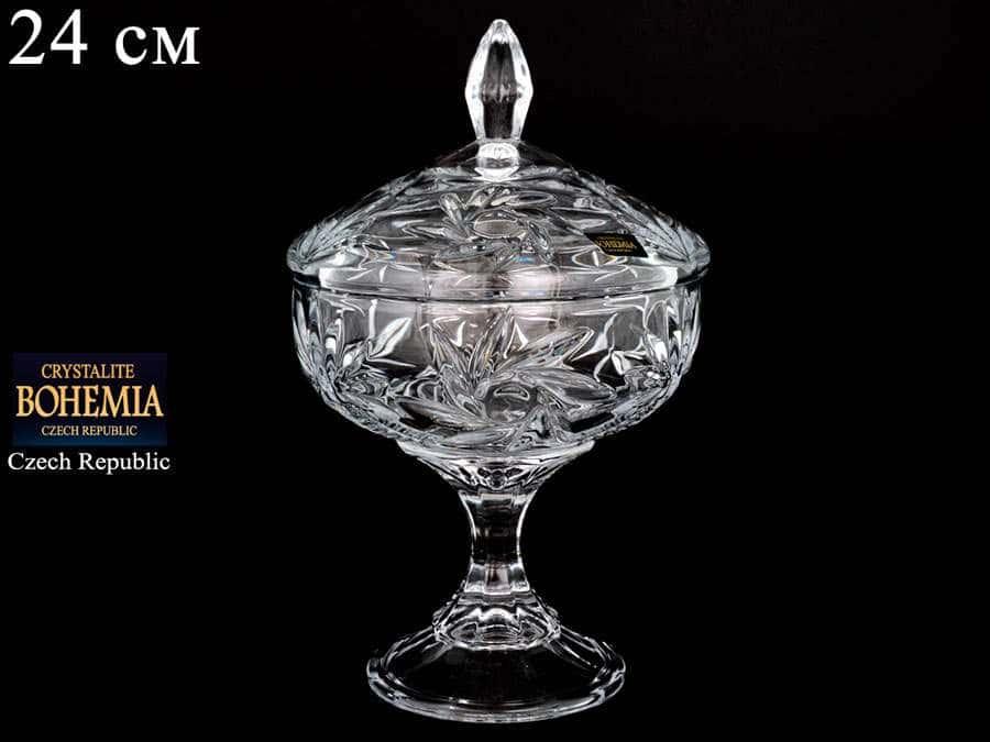 PINWHEEL 99030 Конфетница с крышкой Crystalite Bohemia 24 см на ножке