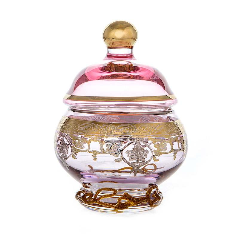 Алессия Розовая Доза Мармеладница из стекла 10 см 200 мл.