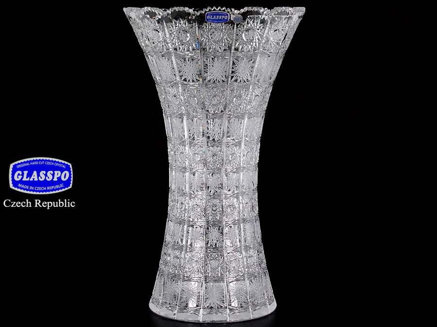 Ваза иксовка Glasspo Bohemia 41 см из хрусталя