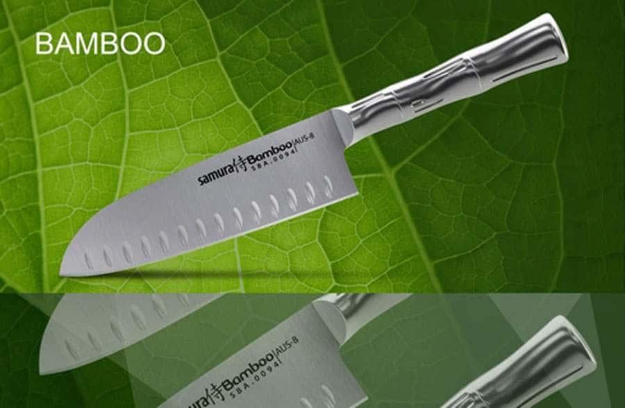 Bamboo Нож кухонный стальной Сантоку Samura