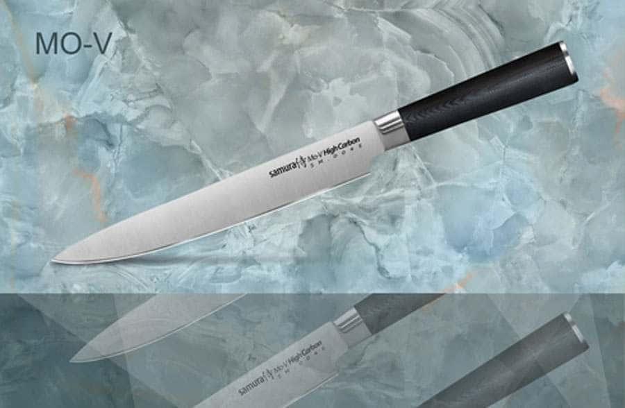 Mo-V Нож кухонный стальной для нарезки слайсер Samura