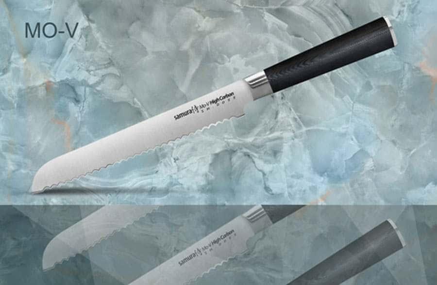 Mo-V Нож кухонный стальной для хлеба Samura