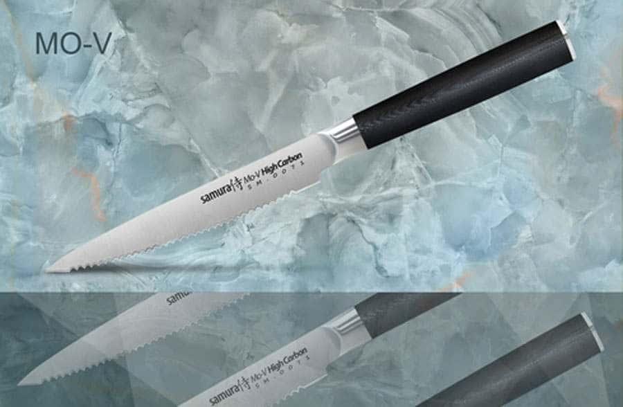 Mo-V Нож кухонный стальной для томатов Samura