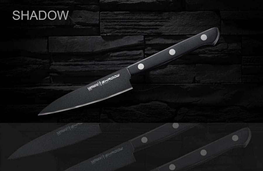 SHADOW Нож кухонный овощной с покрытием BLACK FUSO Samura