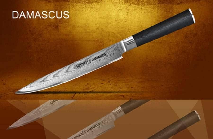 DAMASCUS Нож кухонный стальной для нарезки слайсер Samura