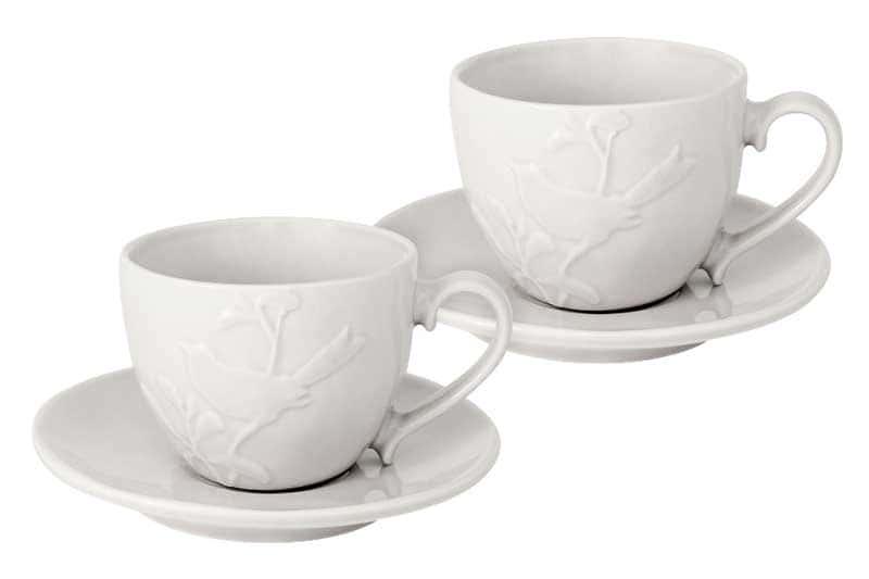 Птицы кремовая Набор: 2 чашки + 2 блюдца SantaFe 0,25 л.