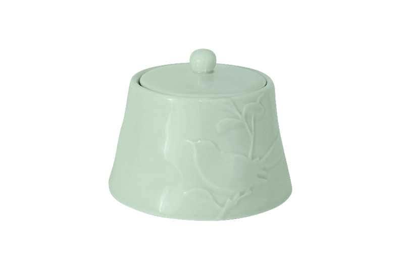 Птицы зеленая Сахарница из керамики SantaFe Китай 0,45 л.