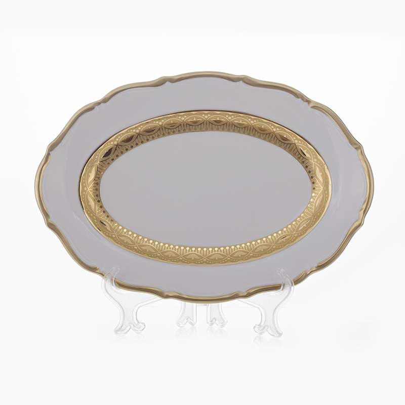 Лента золотая матовая 1 Блюдо овальное Bavarian Porcelain 28 см.
