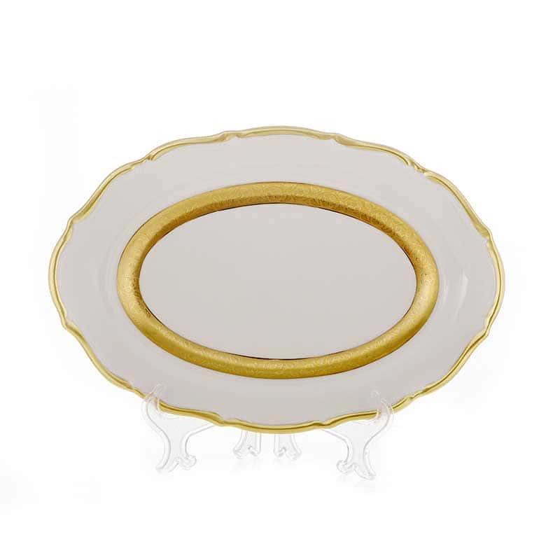 Лента золотая матовая 2 Блюдо овальное Bavarian 28 см.