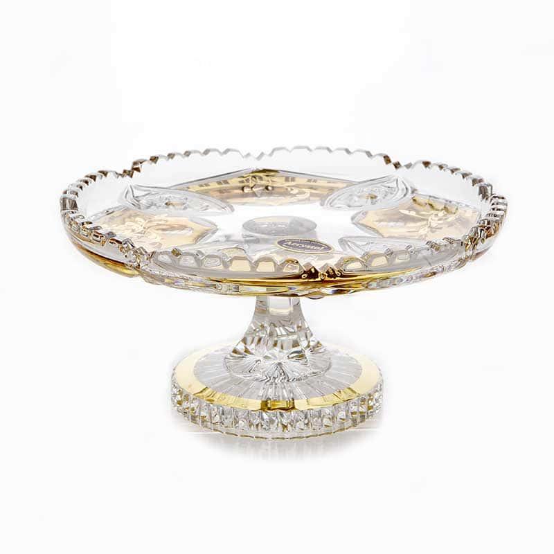 Хрусталь с золотом 68012 Ваза для конфет Acrystal 18 см.