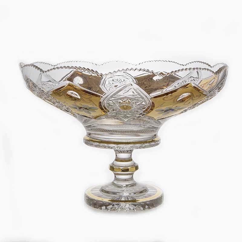 Хрусталь с золотом 60550 Ваза для фруктов Acrystal 40,5 см.