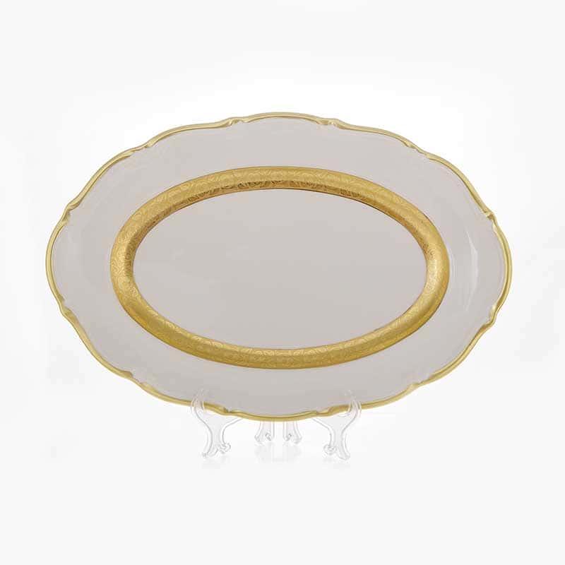 Лента золотая матовая 2 Блюдо овальное Bavarian 38 см.